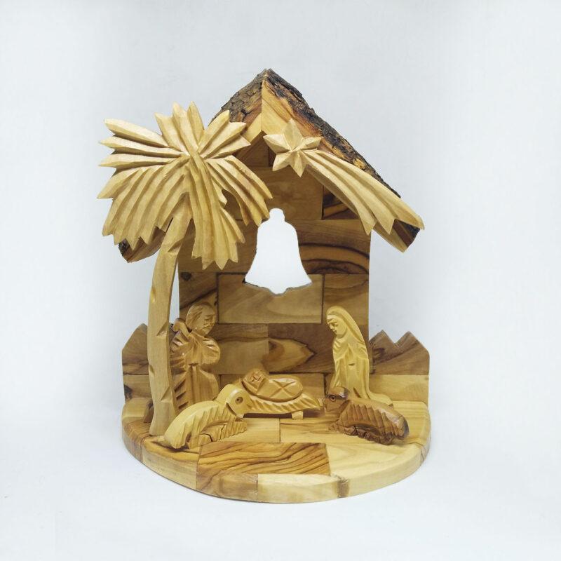 Nativity Bark Creche Back Bell Carved