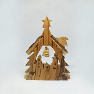 Nativity Bark Star Creche Bell 13cm