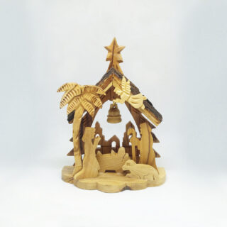 Nativity Bark Star Creche Bell 13cm