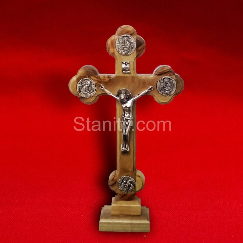 Table crucifix cross With Apostles of Christ plate 16cm