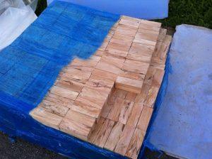 Wood turning blocks on pallet